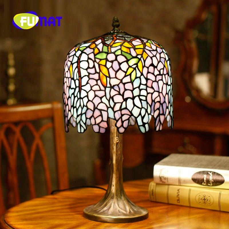 FUMAT cuivre glycine Tiffany lampe de Table européenne classique lampe américaine pays décoration longue tubulaire chambre chevet