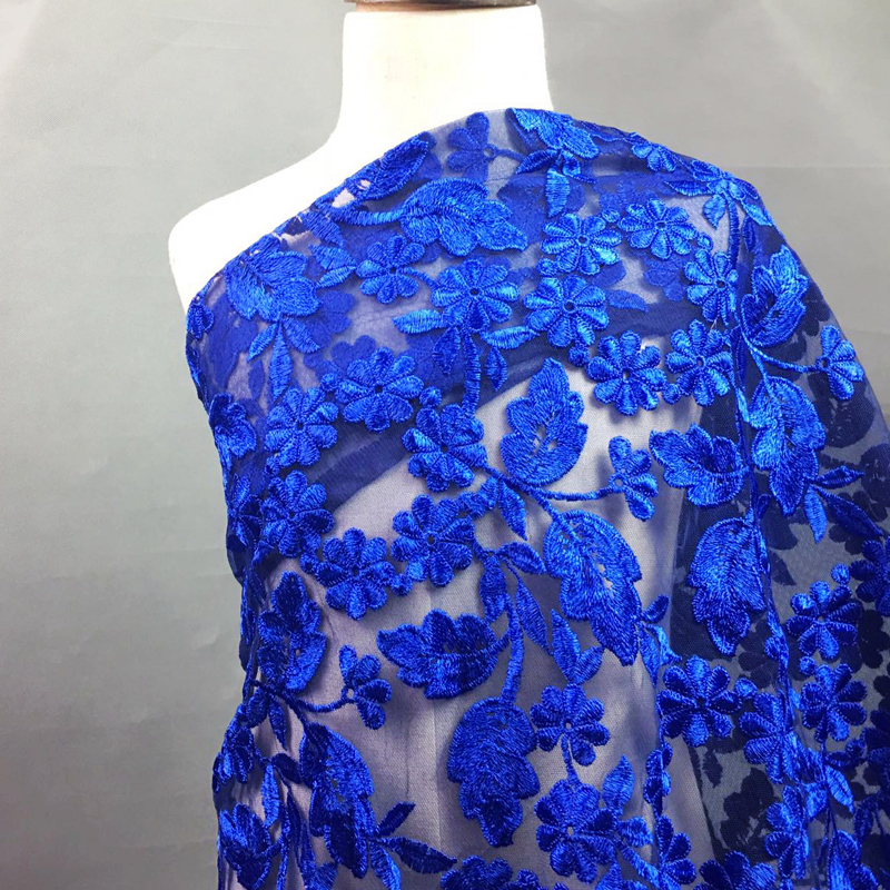 5 Yards Beautiful Sapphire Blue Polyester Silk Embroidery Lace Fabric Skin-friendly Soft Summer Dress Cloth Accessories As Gift