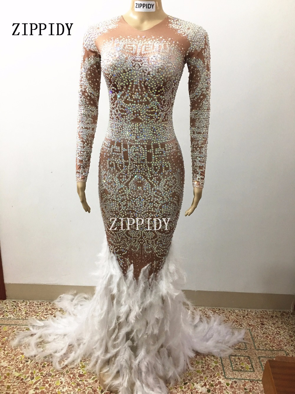 Image 5 - Sparkly Rhinestones Feather Nude Dress Sexy Nightclub Full Stones Long Big Tail Dress Costume Prom Birthday Celebrate Dresses-in Chinese Folk Dance from Novelty & Special Use