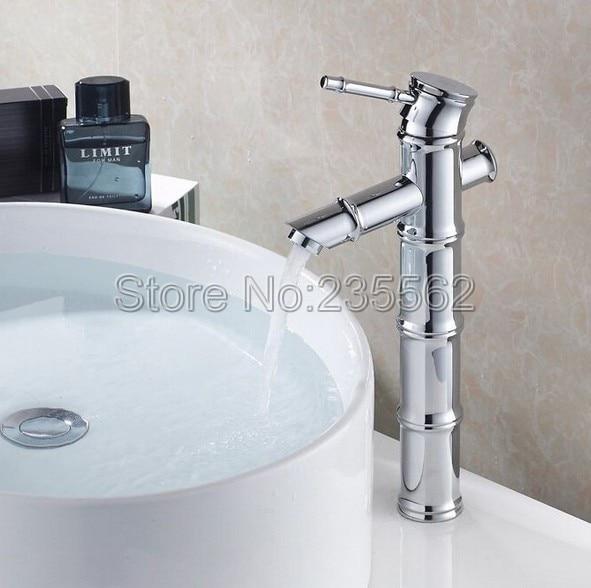 High Bathroom Basin Faucet Chrome Finish Single Hole Deck Mounted Vessel Sink Mixer Tap Single Lever Faucets lnf056 poiqihy chrome sense basin faucets single hole foaming nozzle mixer tap battery power free faucet bathroom sink deck mounted