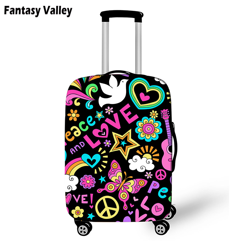 Peace And Love Suitcase Protective Cover Butterfly Mermaid Tail Travel Bag Cover Girls Luggage Case Protector Travel Accessories super bowl ring 2019