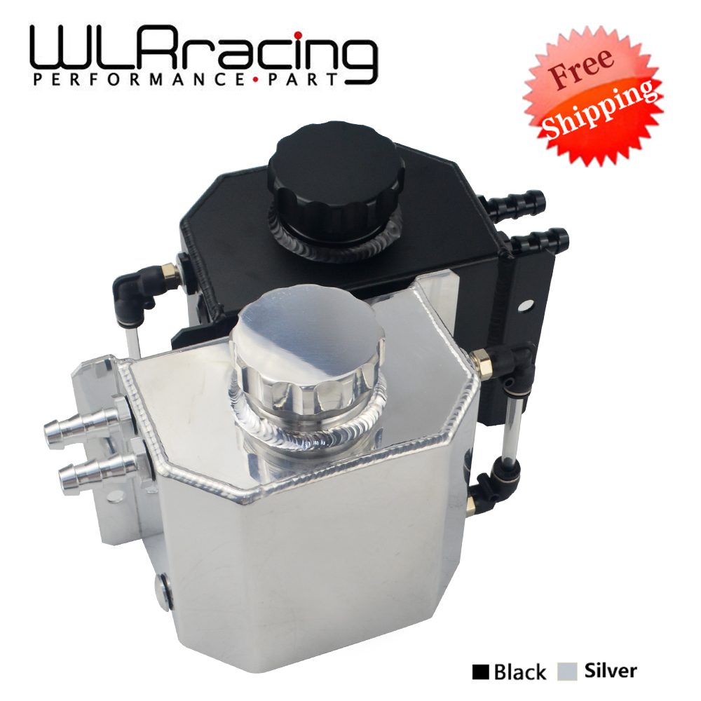 FREE SHIPPING Universal 1L 1000ML Aluminum Auto Car Oil Catch Can Automobiles Vehicle Oil Tank Reservoir with Drain Plug