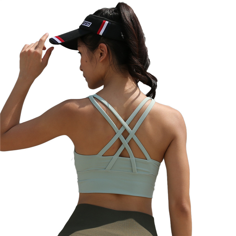 f6a0dfb06161d HTLD High impact Shockproof Bras Women Fitness Tank Tops Cross Bandage Crop Tops  Push Up Bras Bralette Cropped Racerback Camis