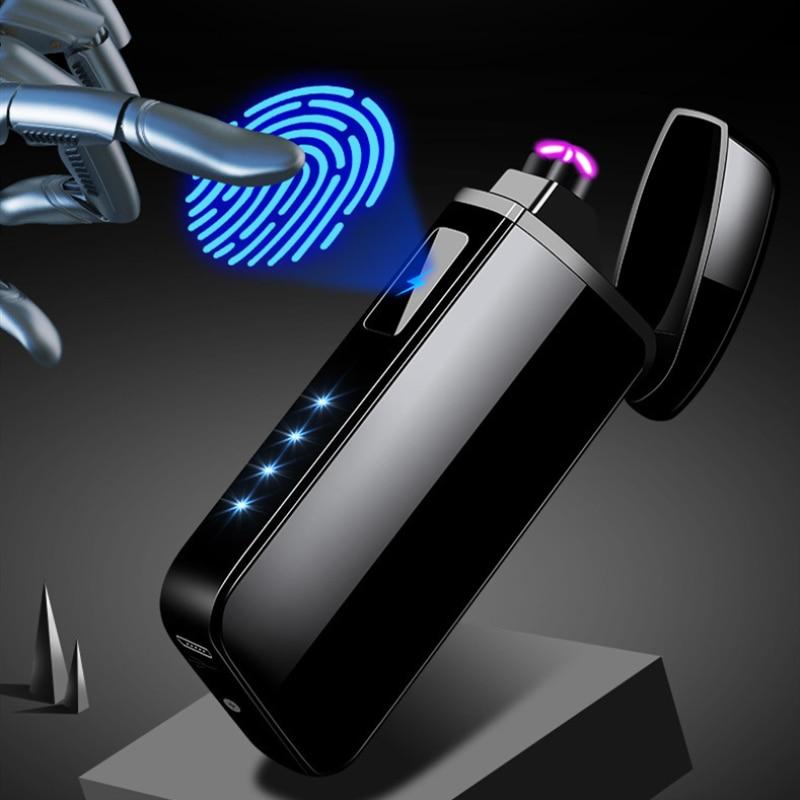 Double Arc USB électronique briquet tactile Induction Rechargeable allume-cigare coupe-vent briquets accessoires fumeurs hommes cadeaux