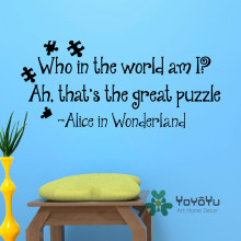Alice In Wonderland Who The World Am I Ah Thats Great Puzzle Wall Murals Kids Bedroom Dorm Home Decor DIY Sticker WA-19
