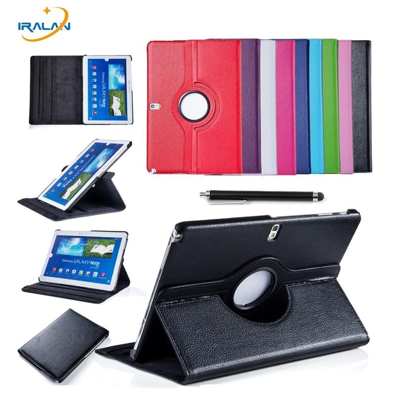 Cas pour Samsung Galaxy Note 2014 Édition 10.1 P600 p605 Tab Pro T520 t525 Tablet PU Housse En Cuir 360 Rotating livraison + stylo