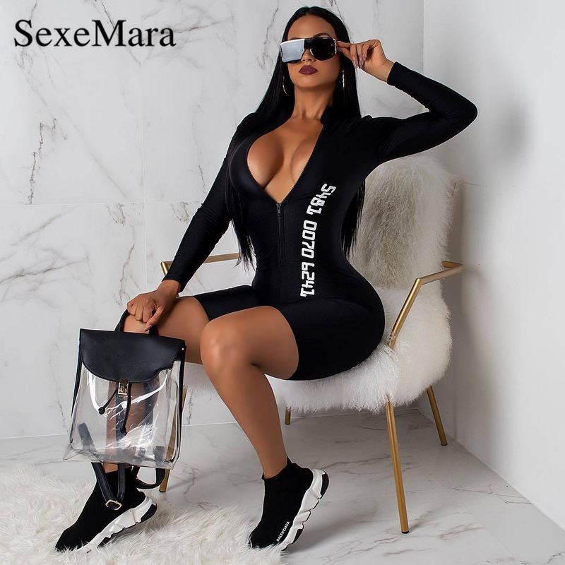 ANJAMANOR Number Print Black Bodycon Jumpsuit Clubwear Night Out Playsuit Front Zip V Neck Long Sleeve Bandage Romper D91-AC94
