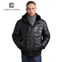 CITY CLASS New Top Thick Warm Winter Jacket Men Overcoat Casual Short Down Sheared Sheep Skin Collar Removable Hat Outwear 14383