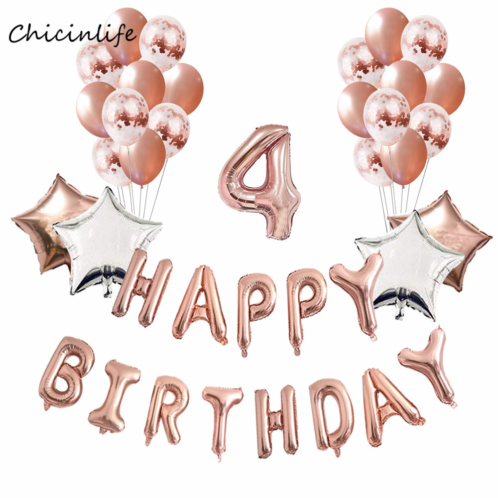 Chicinlife Rose Gold 1 2 3 4 5 6 Happy Birthday Balloons Confetti Balloon Kids Decoration Baby Shower