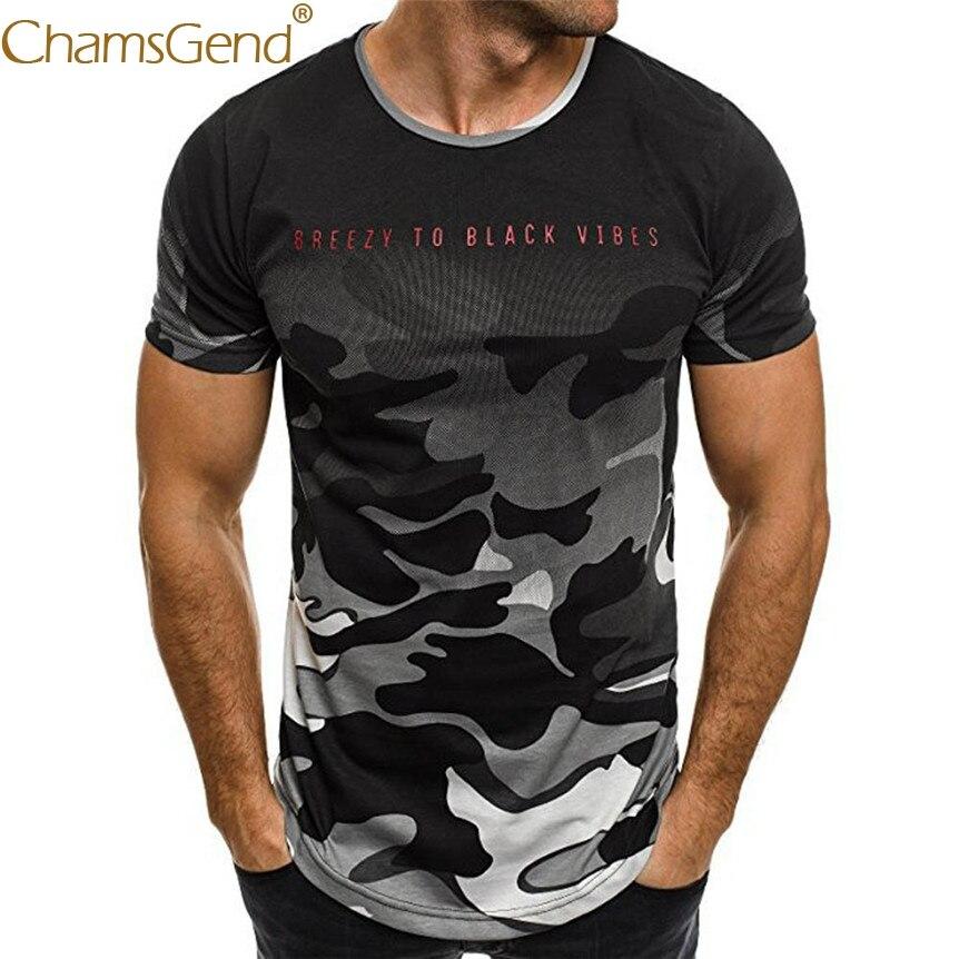 Chamsgend Mens Fashion Cool Black Shirt Camouflage Print Short Sleeve Exercise T-Shirt Drop Shipping 80206