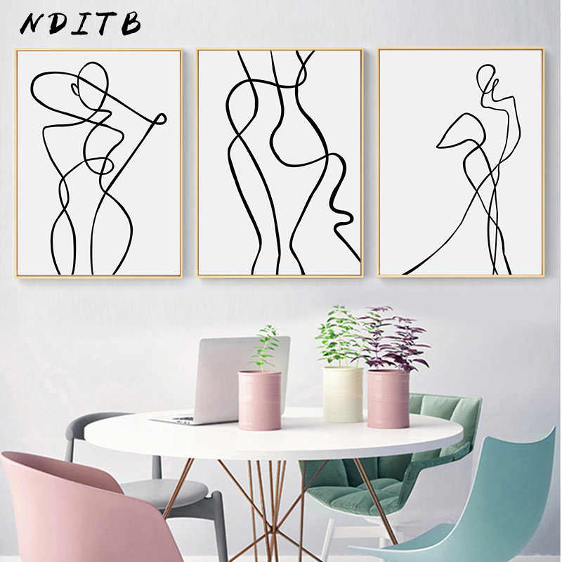 Line Drawing Wall Art Canvas Poster Abstract Woman Simple Painting Minimalist Print Decorative Picture Living Room Decoration