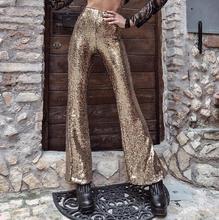 Black Gold Sequin Trousers Women Sparkle Metallic Maxi Ladies Silver High Waist Long Wide Leg PantsClub Wear Stage Dance YFL-085 gold sequin metallic bubble ruffle romper headband metallic gold birthday outfit gold sequin halter tie romper