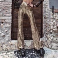 Black Gold Sequin Trousers Women Sparkle Metallic Maxi Ladies Silver High Waist Long Wide Leg PantsClub Wear Stage Dance YFL 085