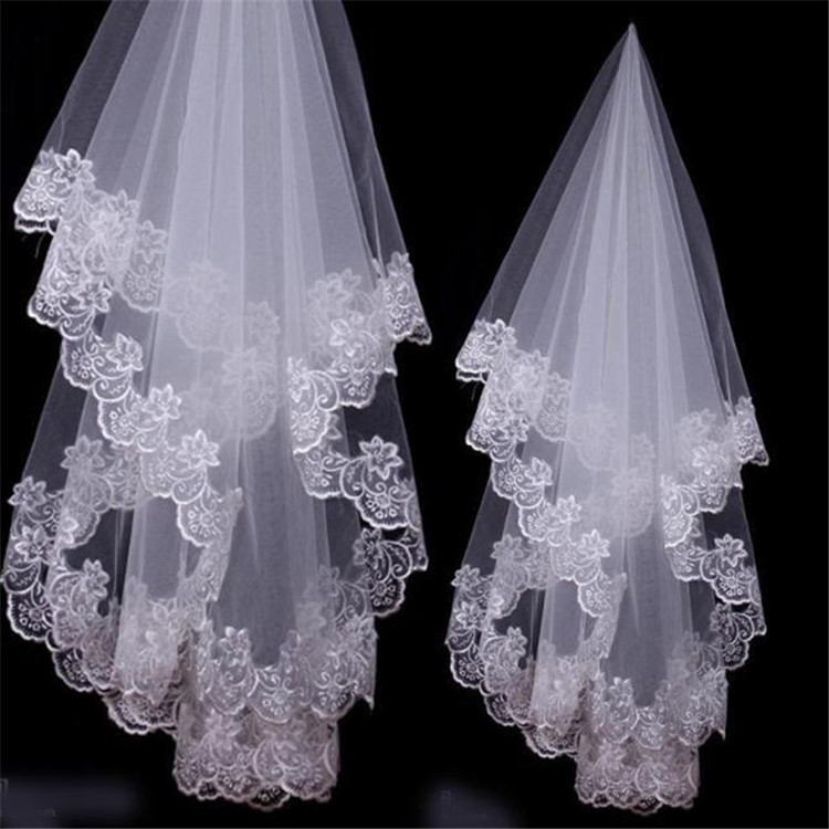 New Lace Edge Wedding Veils Ivory 1T Appliques Bridal Veil No Comb 2019