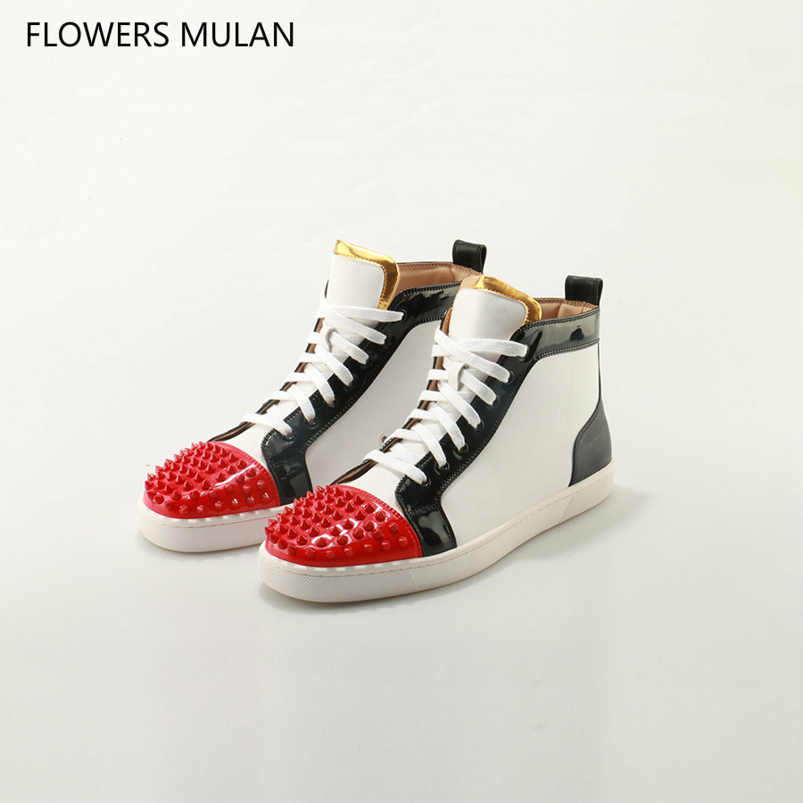 Outdoors Chaussure Homme Fashion Men Shoes Brand Flats Lace Up White Black Red Mix Colors Spike Studs Rivet Casual Shoes Male vixleo new casual driving shoes lace up men flats fashion loafers black sneakers breathable male shoes chaussure homme