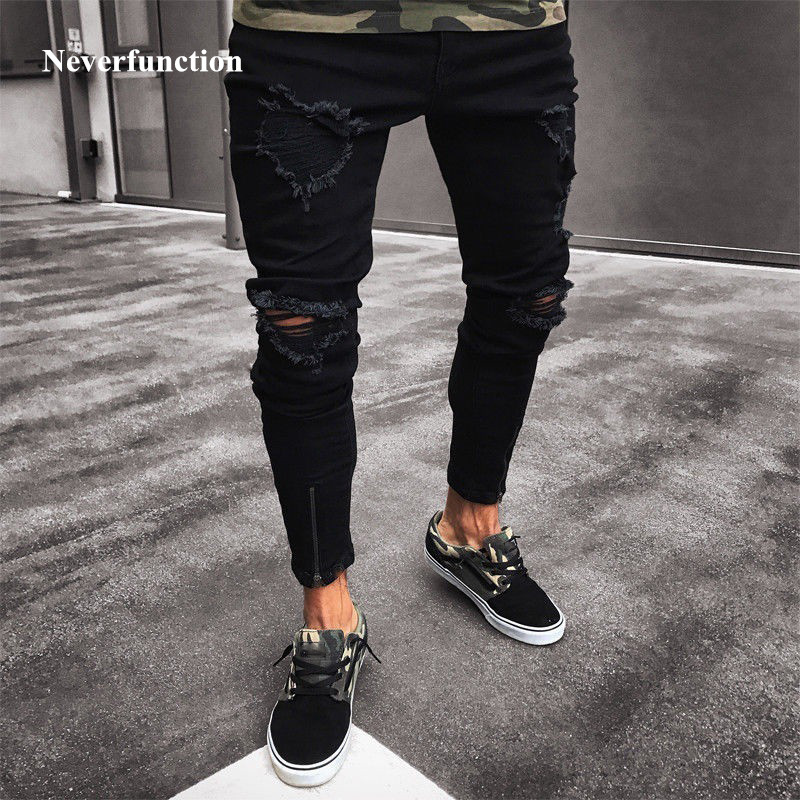 New Black Stretch Skinny Fit Bottom zipper   Jeans   Men Knee Ripped Distressed Hole biker   jeans   Pants Hip Hop Street Big Size XXXL
