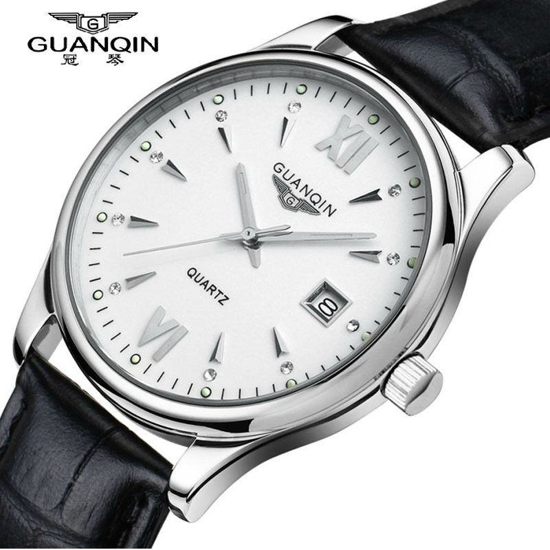 ФОТО GUANQIN watches men Luxury brand quartz watch men ultra-thin waterproof leather Wristwatches relogio masculino gold silver clock