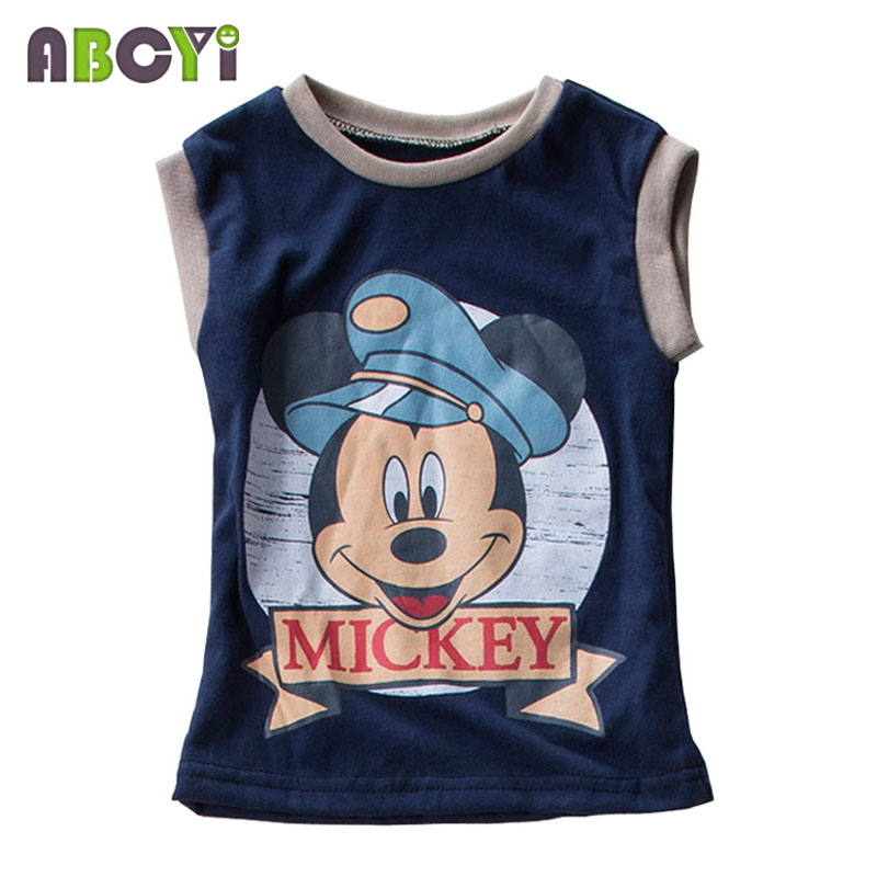 Kids T Shirt Summer 2016 Cartoon Mickey Print Sleeveless