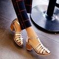 2016 Новая Мода sweet Женщины Сандалии Женщин Обувь вырезами толстый каблук Дамы Сандалии острым носом Женщины Чистый Цвет обувь AA411