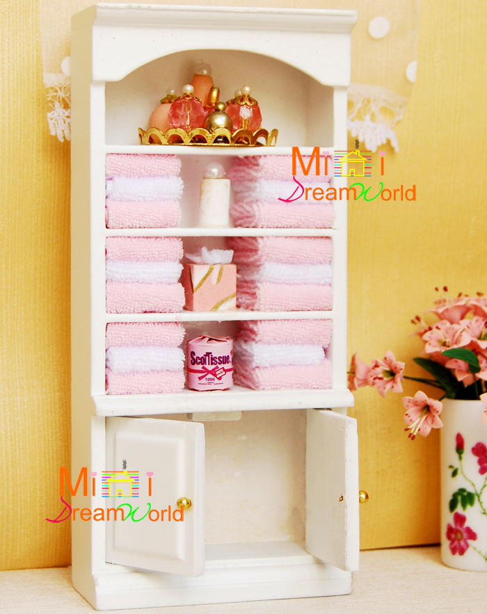 1:12 Dollhouse Furniture Bathroom Pink White Towel Perfume Wood Cabinet Dolls  House Toy  In Doll Houses From Toys U0026 Hobbies On Aliexpress.com | Alibaba  ...