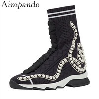 New Arrival Knitted Sock Booties High Increasing Flat Platform Fashion White String Bead Ankle Boots Women