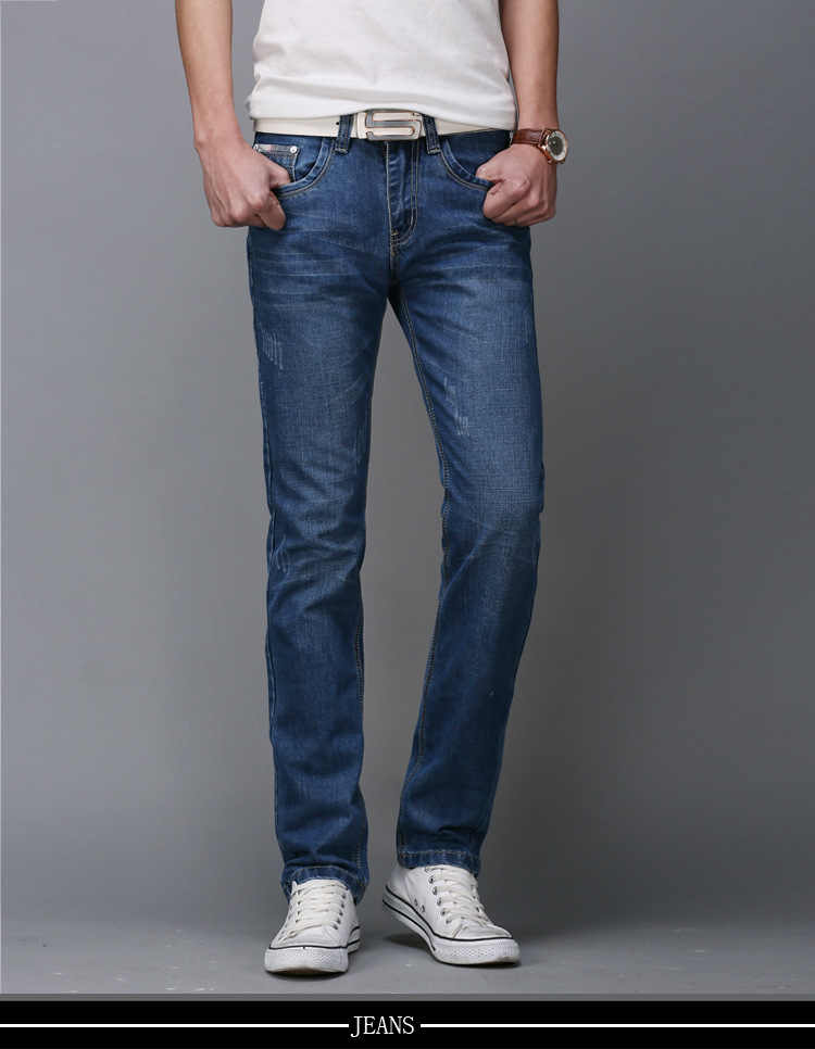 Mannen Rechte Stretch Slim Business Jeans Jeugd Populaire Mid-Taille Mode Mannen Lange Broek Denim Broek
