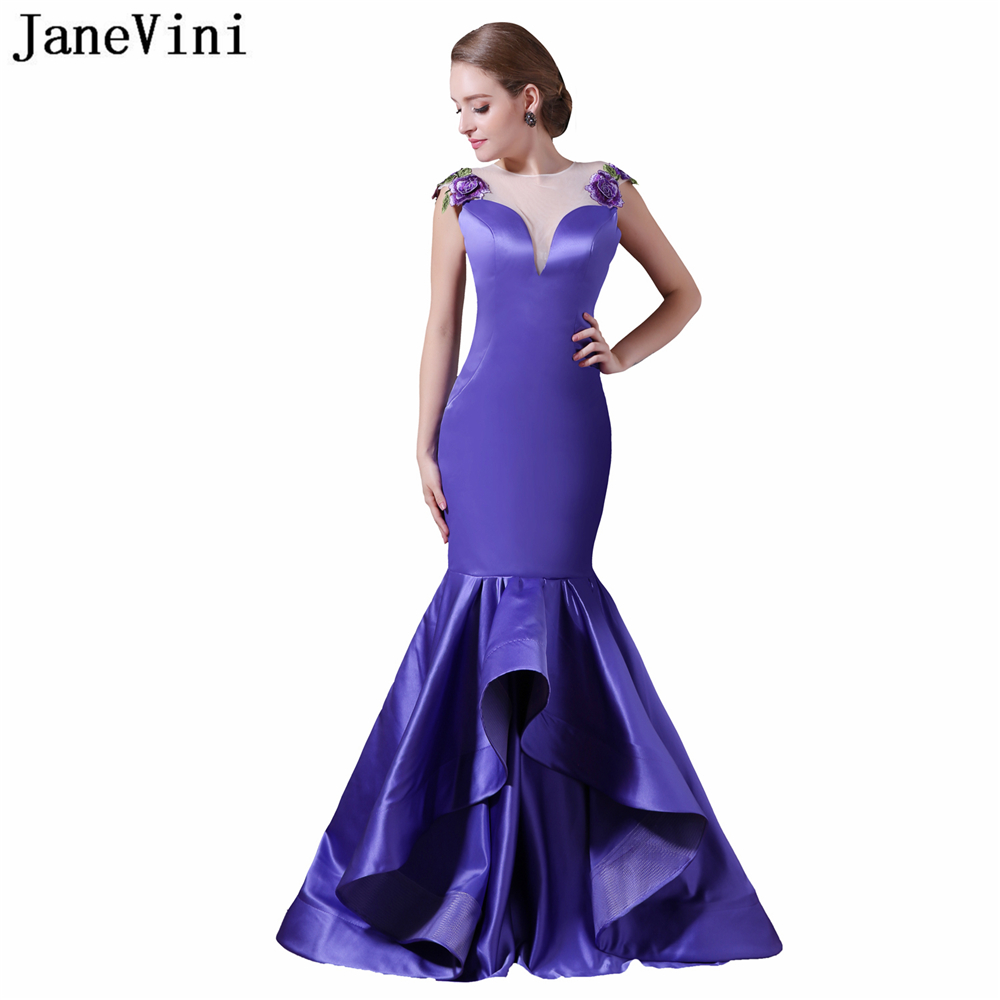 JaneVini Graceful Satin Long   Bridesmaid     Dresses   Exquisite Embroidery Appliques Sheer Back Floor Length Mermaid Ruched Prom Gowns