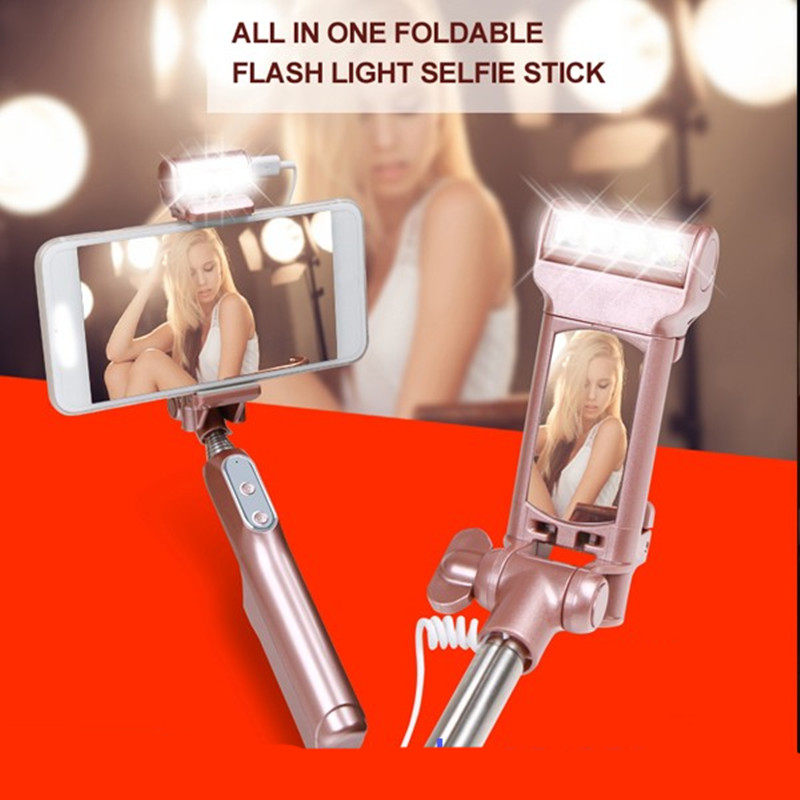 Bluetooth Selfie Stick Extendable Handheld Monopod W Filling LED Light for Motorola Moto X Play XT1561 X/G MAXX G4 G3 Play Plus kinston i love you patterned pu leather full body case w stand for motorola moto g black red