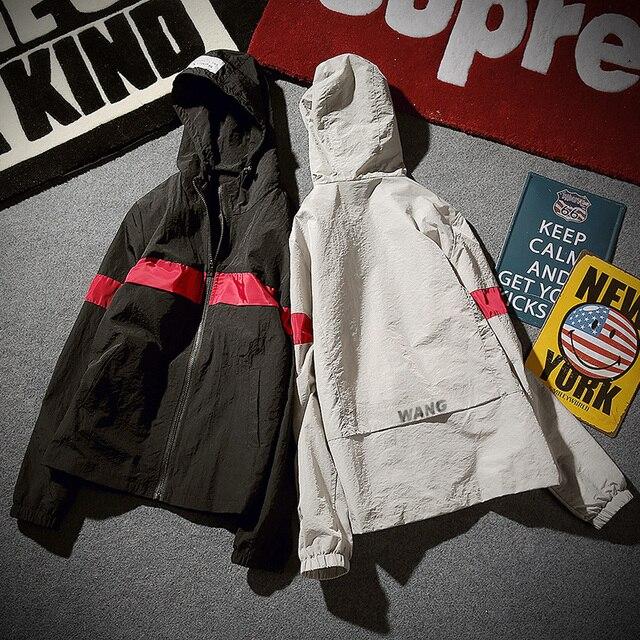 Твердого хип-хоп повседневная куртка мужчины ветровка печатных капюшоном homme бренд clothing Топ тройники Верхняя Одежда Оригинальный Дизайн пальто Z10