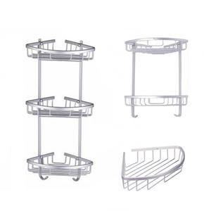 Shelf-Holder Corner-Basket Cosmetic-Storage Bathroom-Accessories Aluminum Space Antique