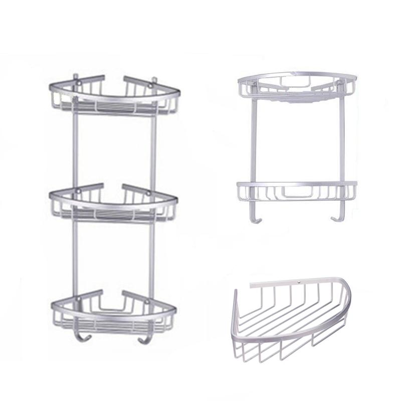 Espacio antiguo de aluminio cesta de esquina productos de baño de lujo almacenamiento cosmético estante de baño accesorios de baño