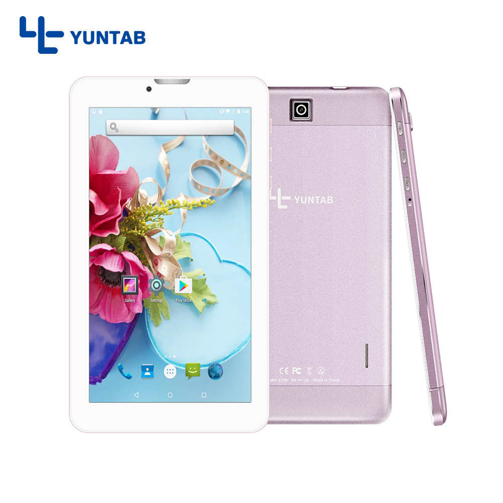 Yuntab 7 inch rose gold Alloy Tablet PC E706 Android 5.1 Quad Core 1G 8G with Dual Camera support normal size SIM Card Cellphone yuntab 7 inch q88 allwinner a33 quad core 512mb 8gb android 4 4 kids tablet pc hd screen dual camera