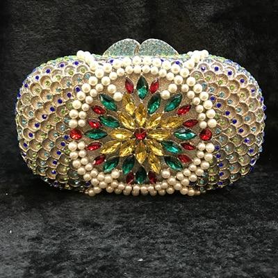 Women gold Crystal banquet prom Nightclub Evening Bags Metal dinner Hardcase Box Diamond Minaudiere Wedding Party Handbag Purse