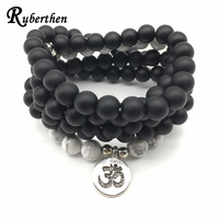 Ruberthen Fashion Matte Black Onyx Ohm Bracelet New Design Women S Wrap 108 Mala Jewelry High