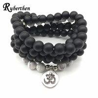 Ruberthen Fashion Matte Black Onyx Ohm Bracelet New Design Women S Wrap 108 Mala Jewelry High