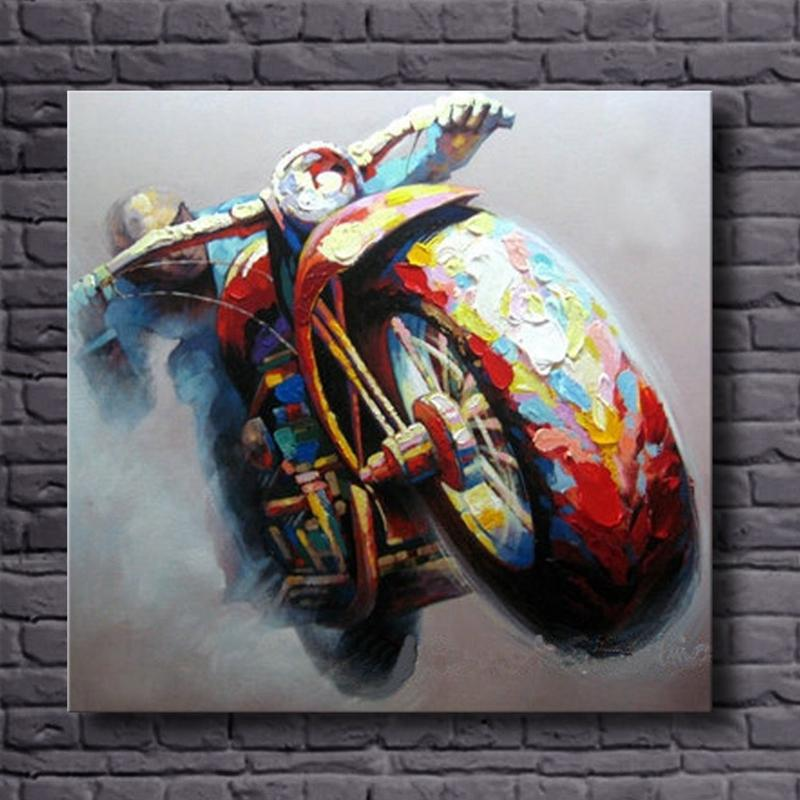 Handpainted Motorcycle Canvas Oil Painting Modern Abstract