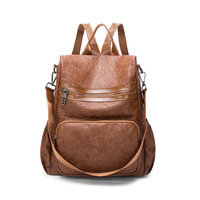 Brand Vintage PU Leather Anti Theft Backpack Women Luxury Lady Back Pack Bags High Capacity Travel Backpack