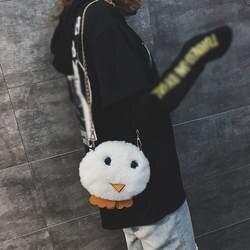 2018 Осенняя плюшевая сумка для девочек, модная женская сумка с рисунком курицы, женская сумка для отдыха