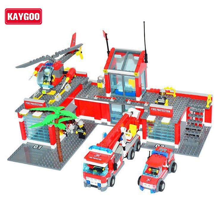 Kaygoo Super Large Fire Station 774pcs Building Blocks Helicopter/Educational Bricks Toys/ Learning DIY Kids Toys Christmas Gift new arrival super wings plane base assembly building blocks educational diy models toys birthday christmas gift for kids