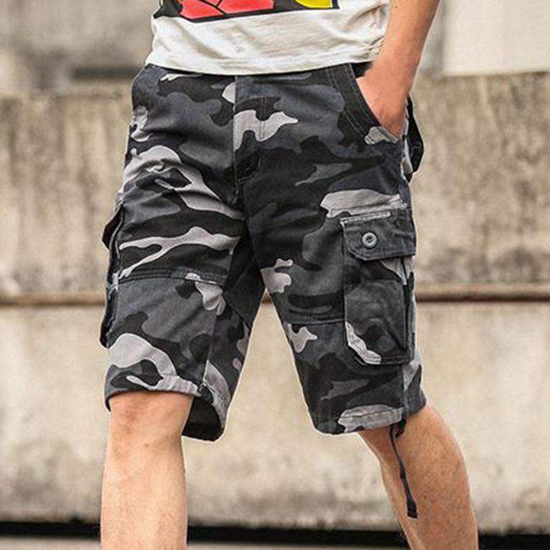 LASPERAL Summer Mens Baggy Shorts Multi Pocket Military Zipper Cargo Shorts Male Long Army Green Camouflage Mens Tactical Short