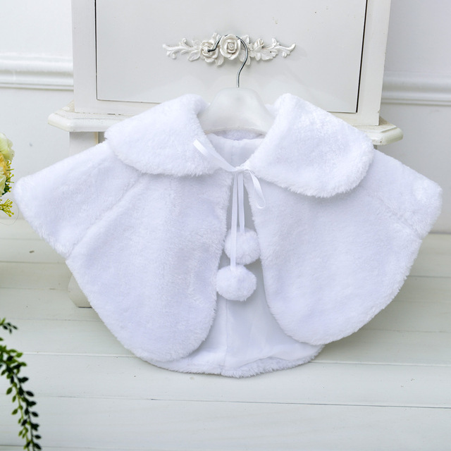 ace87884c fur coat wedding baby girls Princess dress plush bolero winter ...