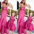 Fúcsia Flor Meninas Vestido Para Casamentos Curto Jewel Neck Satin na altura do Joelho de Uma Linha de Crianças Concurso de Vestidos de 2016 Da Filha Da Mãe família