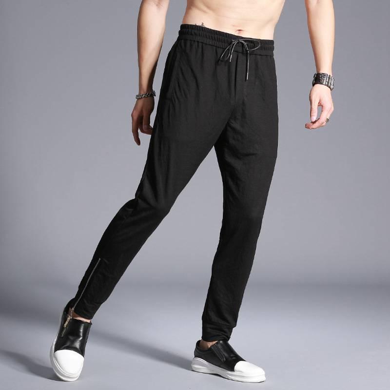 #1621 Black casual pants Spring Summer 2018 Linen Loose Bottom with zipper Fashion Harem pants Compression pants Mens joggers
