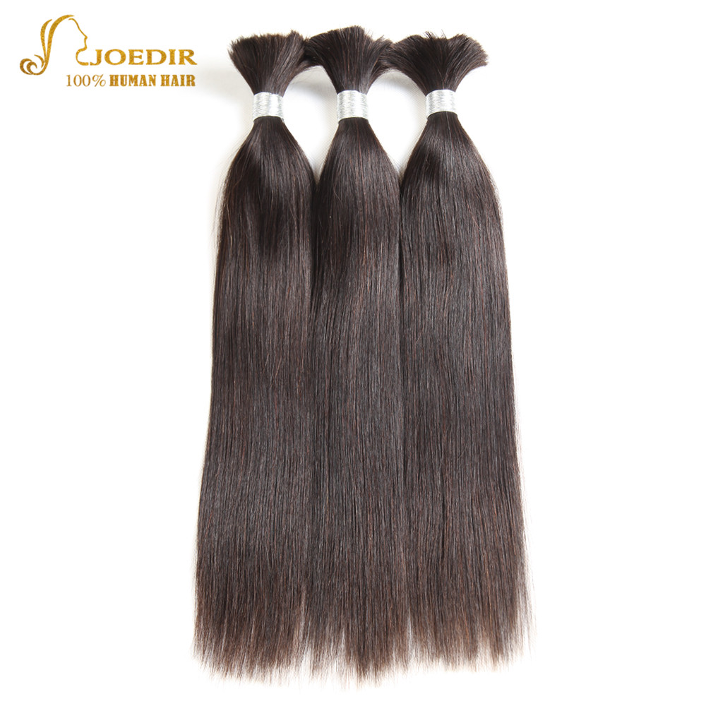 Joedir Hair Brazilian Straight Hair Bundles Remy Human Hair Weave Bulk Bundles Bulk Human Hair Extension For Braiding 30 Inch