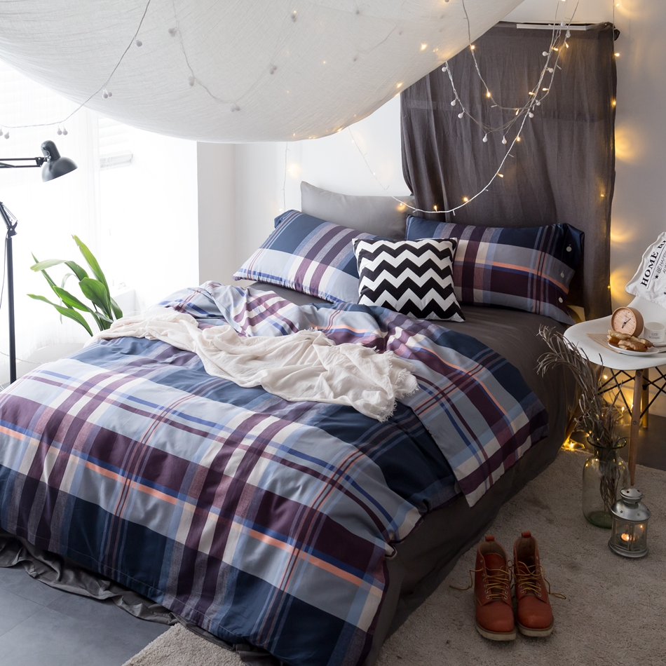 Bed sets for men - Plaid Bedding Set Queen Size Egyptian Cotton Bedding For Men Stripe Duvet Cover Bedspread Pillowcases Multi