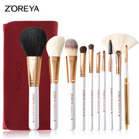 ZOREYA 10pcs Rose Gold Blusher Eye Shadow Brow Lip Powder Foundation Brush Cosmetic Makeup Brushes Set