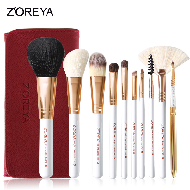 ZOREYA 10pcs Rose Gold Blusher Eye Shadow Brow Lip Powder foundation Brush Cosmetic Makeup Brushes Set Natural Synthetic Hair vander 5pcs pro lollipop shaped makeup brushes set powder foundation eye shadow beauty face lip blusher cosmetic brush blending