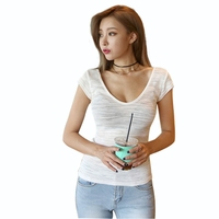 Sexy Low Cut O Neck Tees Feminina Women Open Bust Tight Fitting Slim Bottoming T Shirt