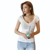 Seksi Düşük Cut O Boyun Tees feminina Kadın Açık Göğüs sıkı oturan İnce Dip T Gömlek Kore stil LT559S30