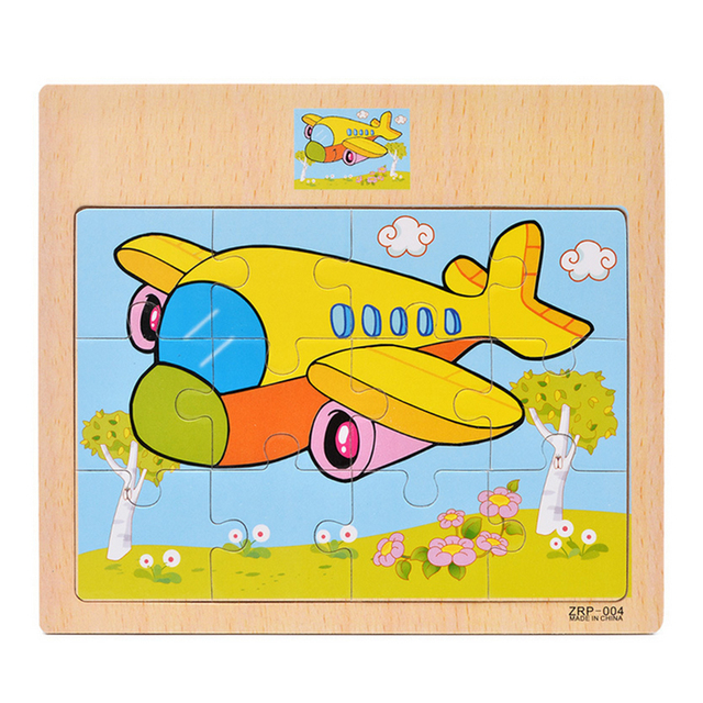 NFSTRIKE 12Pcs Wooden Jigsaw Puzzle Cartoon Toys  baby With Storage Tray Early Education wooden puzzles toys for children
